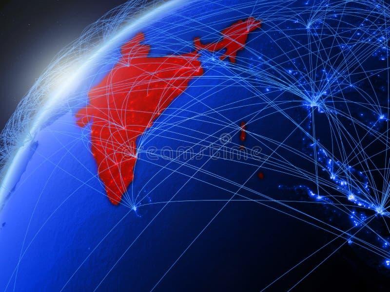 L'Inde sur la terre bleue avec le réseau illustration libre de droits