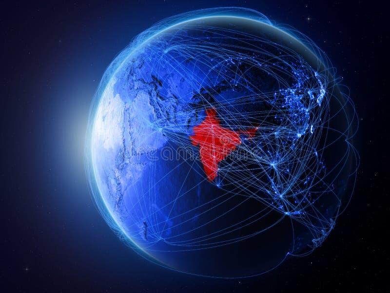 L'Inde sur la terre bleue avec le réseau illustration stock
