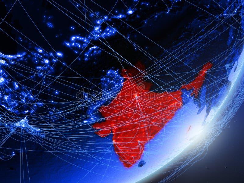 L'Inde sur la terre numérique bleue bleue illustration de vecteur