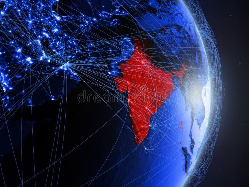 L'Inde sur la terre numérique bleue bleue illustration libre de droits