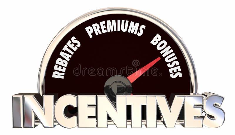 L'indennità di premi degli sconti di incentivi offre il tachimetro royalty illustrazione gratis