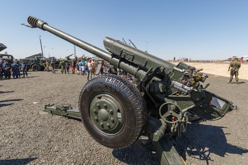 122 l'index soviétique 2A18 de l'obusier D-30A GRAU de millimètre est un obusier soviétique qui est entré dans la première fois l photo stock
