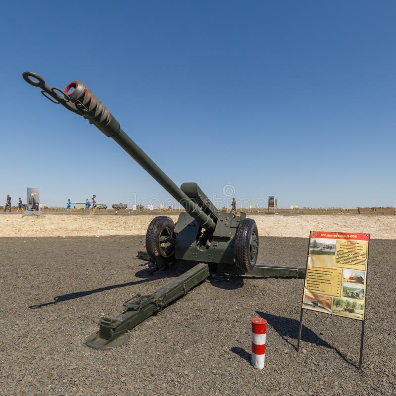 122 l'index soviétique 2A18 de l'obusier D-30A GRAU de millimètre est un obusier soviétique qui est entré dans la première fois l photos stock