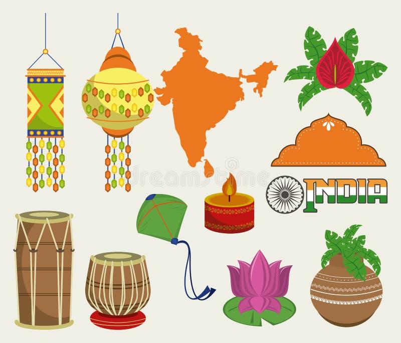 L'India ha messo dei monumenti e delle icone degli emblemi illustrazione vettoriale