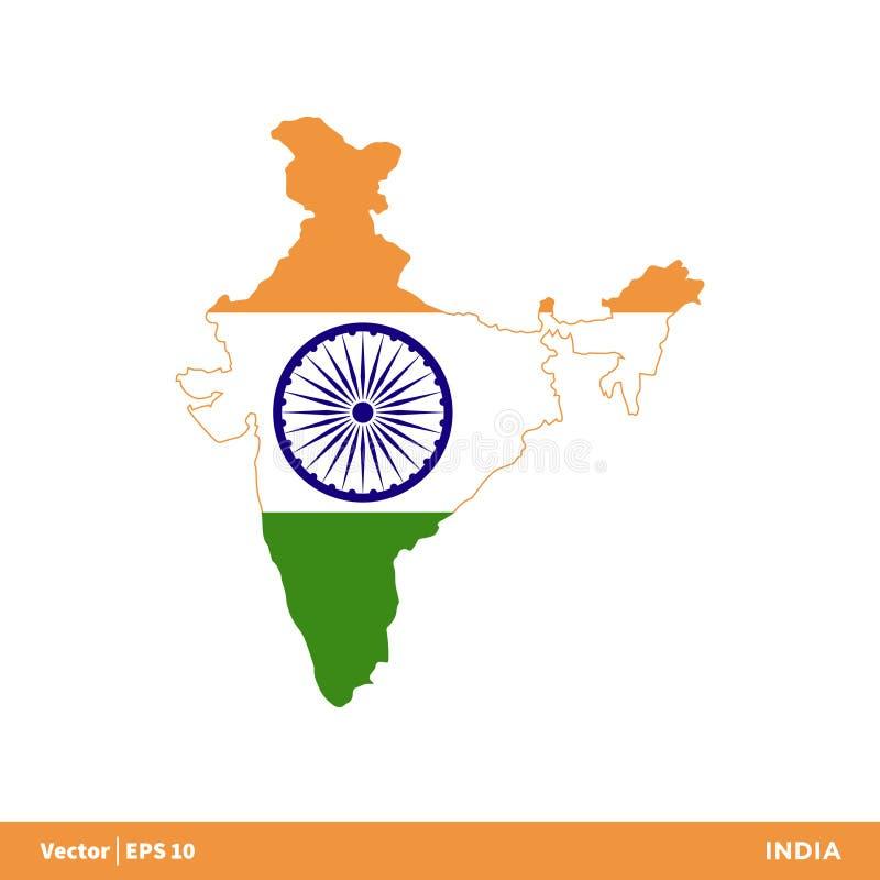 L'India - i paesi dell'Asia tracciano ed inbandierano il vettore Logo Template Illustration Design dell'icona Vettore ENV 10 illustrazione di stock