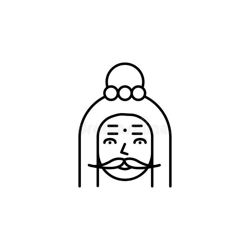L'India, icona di yokee Elemento dell'icona della cultura dell'India Linea sottile icona per progettazione del sito Web e svilupp illustrazione di stock