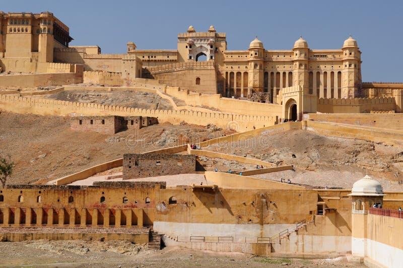 L'India, Jaipur, fortificazione ambrata fotografia stock libera da diritti