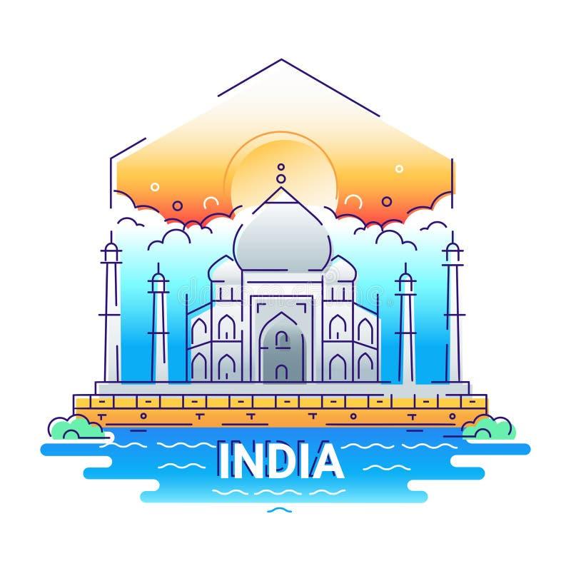 L'India - linea moderna illustrazione di vettore di viaggio illustrazione vettoriale