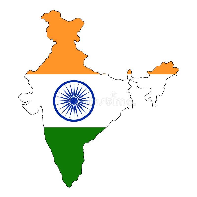 L'India Mappa dell'illustrazione di vettore dell'India illustrazione di stock