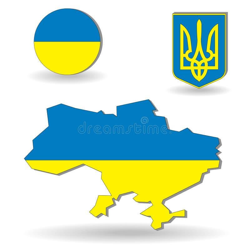L'indicateur et la carte de l'Ukraine illustration de vecteur
