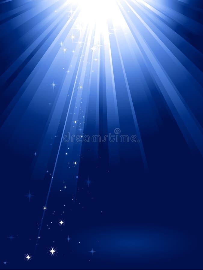 L'indicatore luminoso blu ha scoppiato con le stelle illustrazione di stock