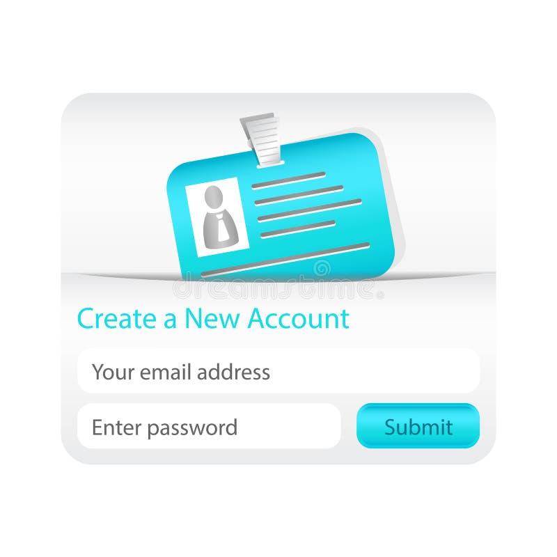 L'indicatore luminoso crea un nuovo modulo di conto con la carta di identità blu-chiaro royalty illustrazione gratis