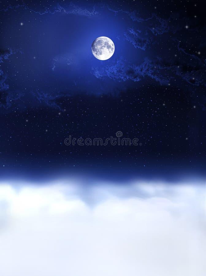 L'indicatore luminoso e la notte di luna sogna? illustrazione di stock