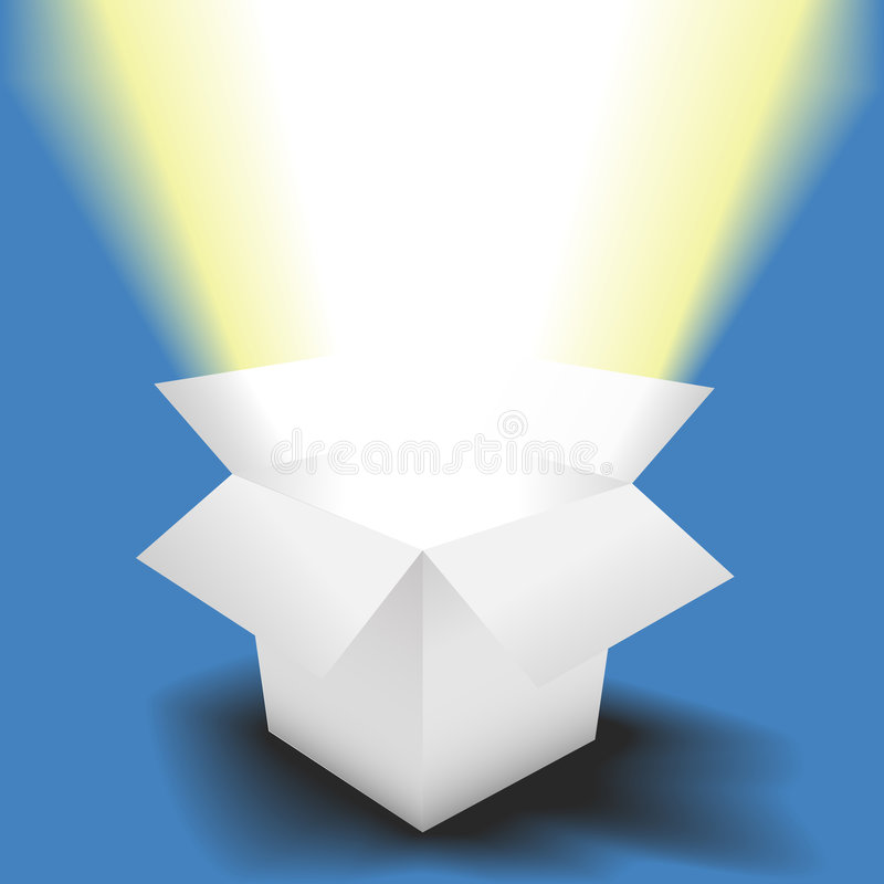 L'indicatore luminoso luminoso lucida in scatola bianca aperta illustrazione di stock