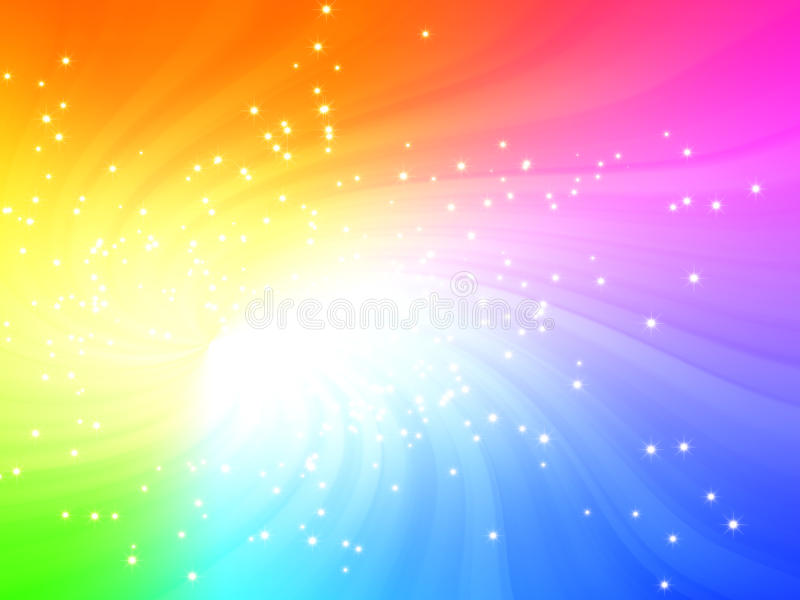 L'indicatore luminoso scintillante di colori del Rainbow ha scoppiato con le stelle illustrazione di stock