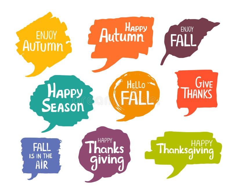 L'indicatore stagionale di autunno di ringraziamento scritto a mano disegnato a mano di caduta segna i fumetti illustrazione di stock