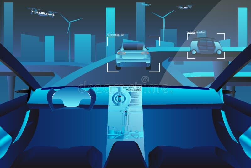 L'individu autonome conduisant la voiture avec la tête montrent sur la route illustration stock