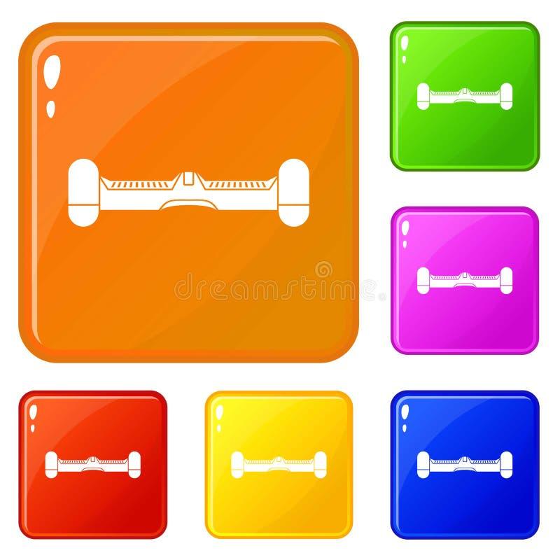 L'individu de double roue équilibrant les icônes électriques de planche à roulettes a placé la couleur de vecteur illustration stock