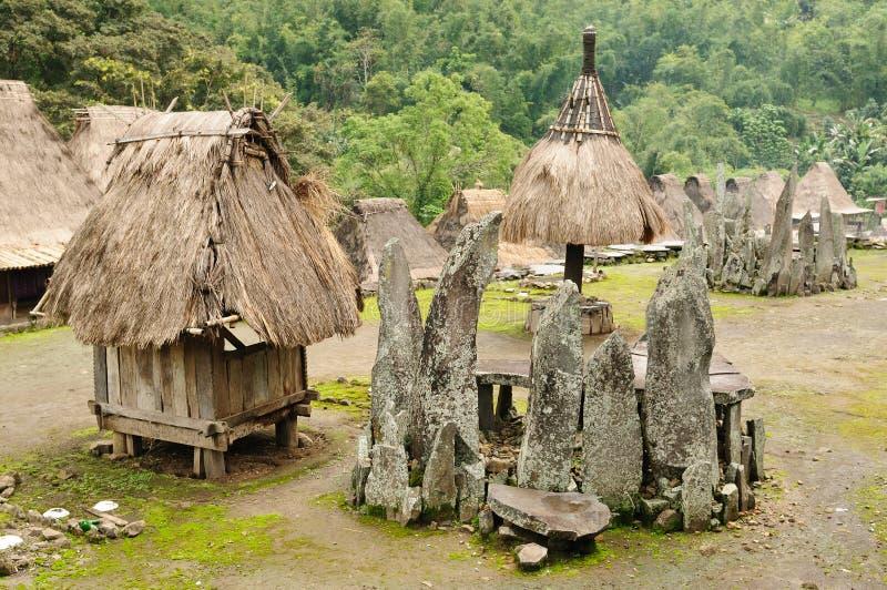 l'Indonésie, Flores, village de Bena photo libre de droits