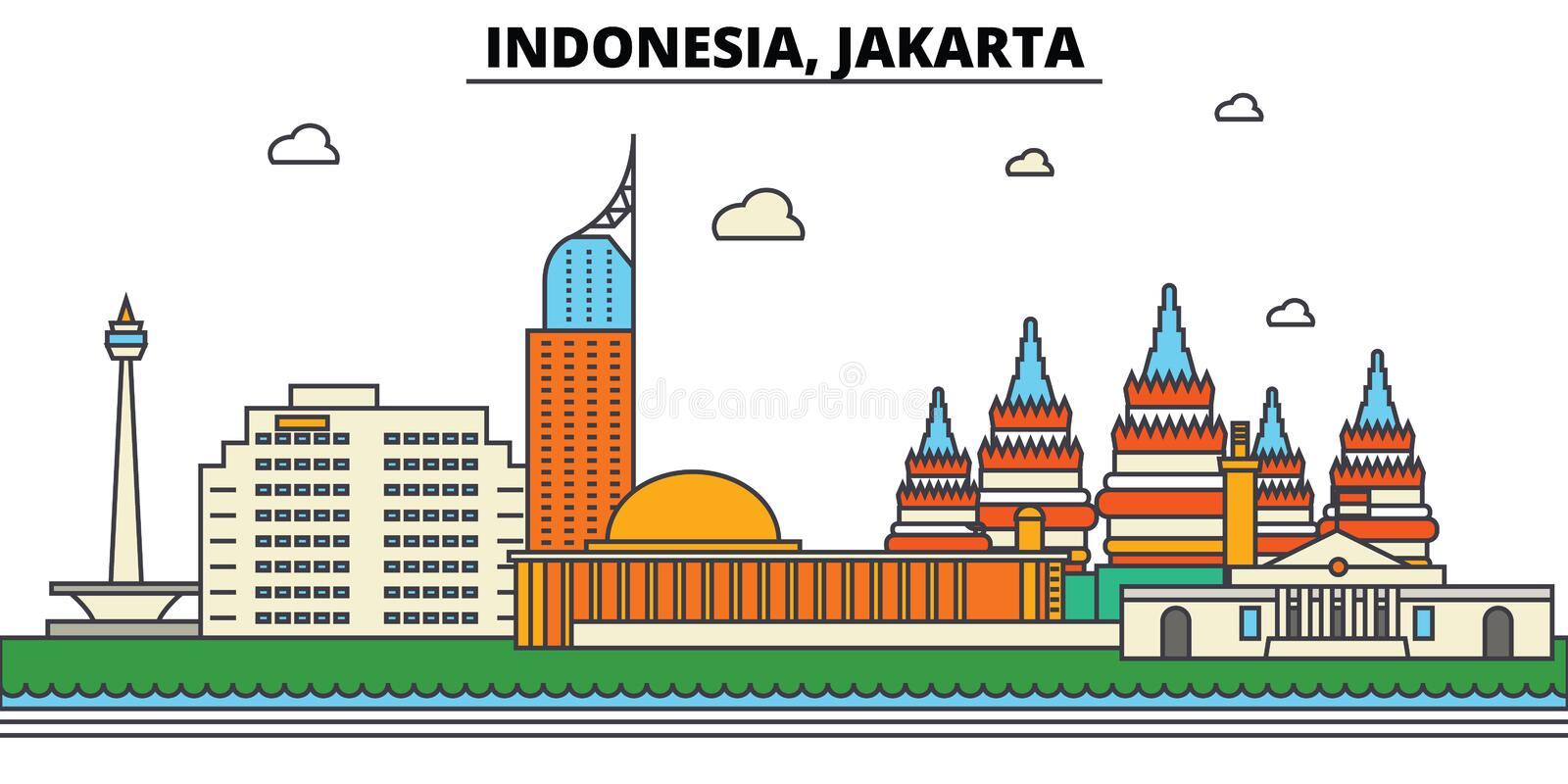L'Indonésie, Jakarta Architecture d'horizon de ville editable illustration stock