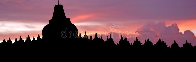 L'Indonesia, Java, Borobudur: Tramonto immagini stock libere da diritti