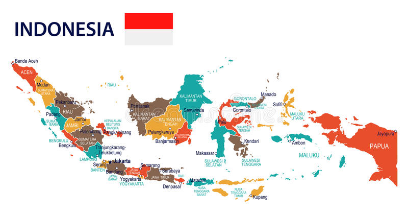 L'Indonesia - mappa e bandiera - illustrazione royalty illustrazione gratis
