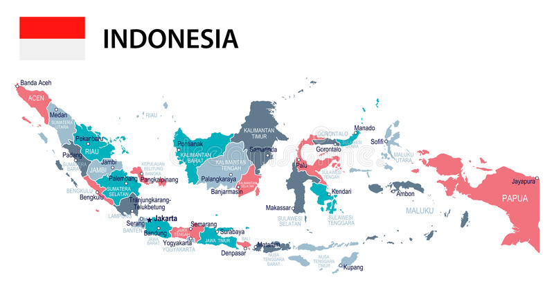 L'Indonesia - mappa e bandiera - illustrazione illustrazione di stock