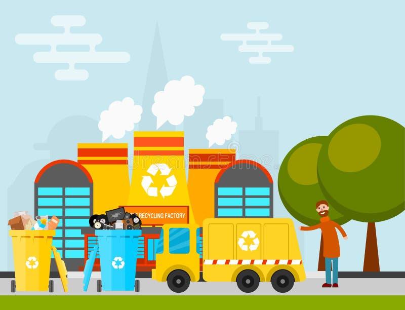 L'industria di trasformazione portata camion della fabbrica di processo dell'immondizia di vettore di riciclaggio dei rifiuti ha  illustrazione di stock
