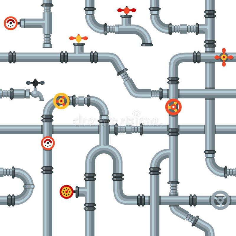 L'industriale convoglia il modello senza cuciture Valvole del tubo e rubinetti, scolo che si raffredda o calibro di pressione del royalty illustrazione gratis