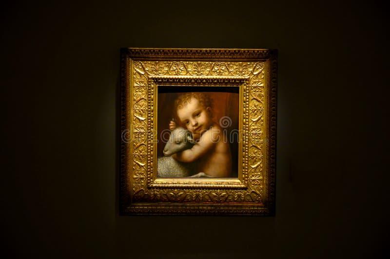 L'infante Gesù con un agnello da Bernardino Luini nel Pinacota Ambrosiana, la galleria di arte ambrosiana a Milano, Italia immagine stock libera da diritti
