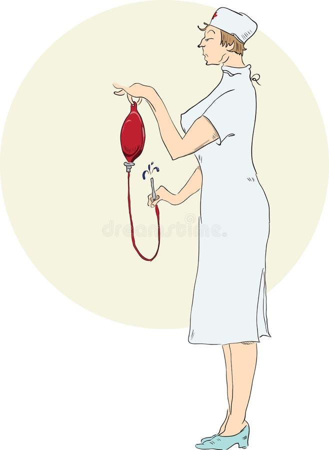 L'infermiera prepara un enema illustrazione di stock