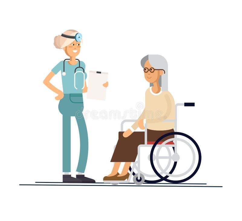 L'infermiere aiuta sua nonna a andare al camminatore Occupandosi degli anziani Stile dell'illustrazione di vettore royalty illustrazione gratis