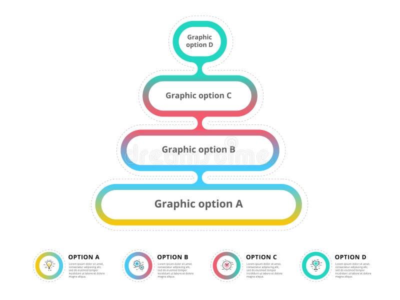 L'infographics de diagramme de processus d'étape de la pyramide 4 avec l'option entoure f illustration stock