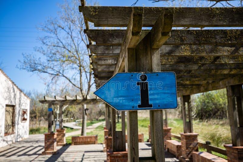 L'information bleue en bois se connectent une nuance en bois du soleil image libre de droits