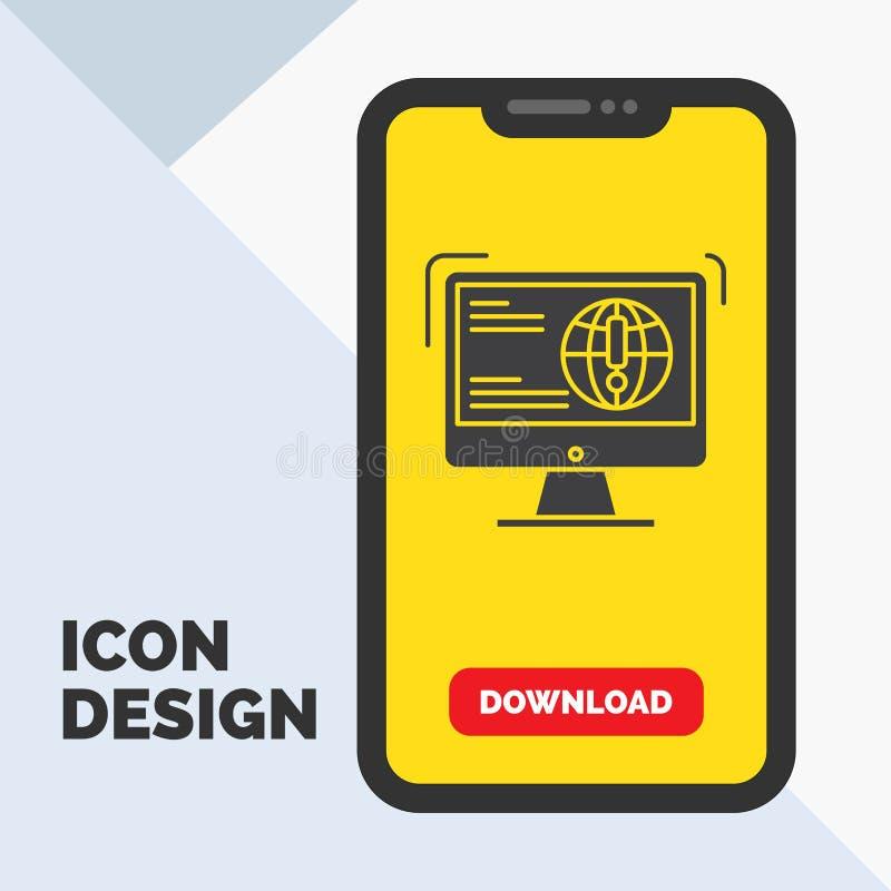 l'information, contenu, développement, site Web, icône de Glyph de Web dans le mobile pour la page de téléchargement Fond jaune illustration de vecteur