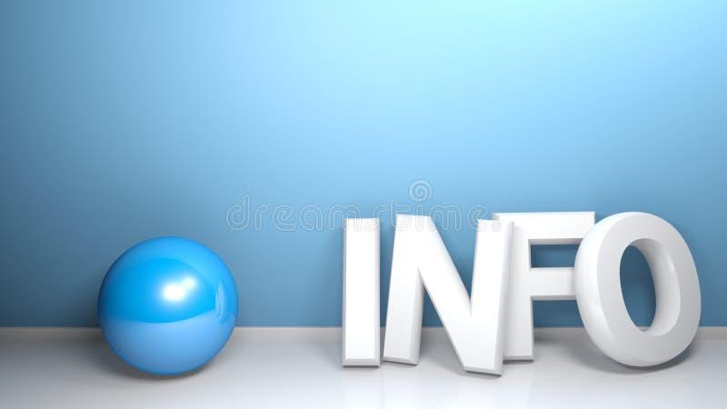 L'INFORMATION 3D blanc écrivent au mur bleu avec la sphère - le rendu 3D illustration libre de droits
