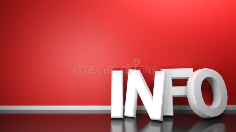 L'INFORMATION 3D blanc écrivent au mur rouge - le rendu 3D illustration libre de droits