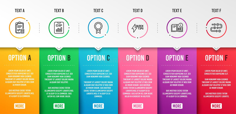 L'information d'instruction, guide de Quickstart et ensemble d'ic?nes de document de rapport Vecteur illustration stock