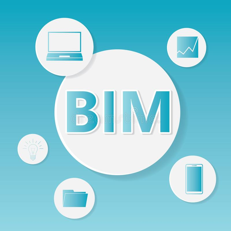 L'information de bâtiment de BIM modelant le concept d'affaires illustration stock