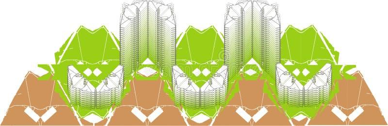 L'information de bâtiment modelant dans le vecteur illustration libre de droits