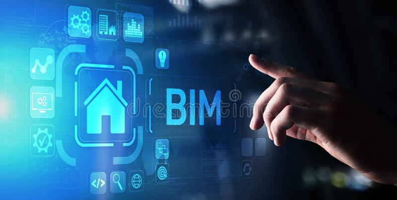 L'information de b?timent de BIM modelant le concept de technologie sur l'?cran virtuel photo libre de droits