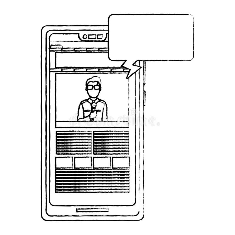 L'information grunge de journaliste d'homme de nouvelles de smartphone illustration de vecteur