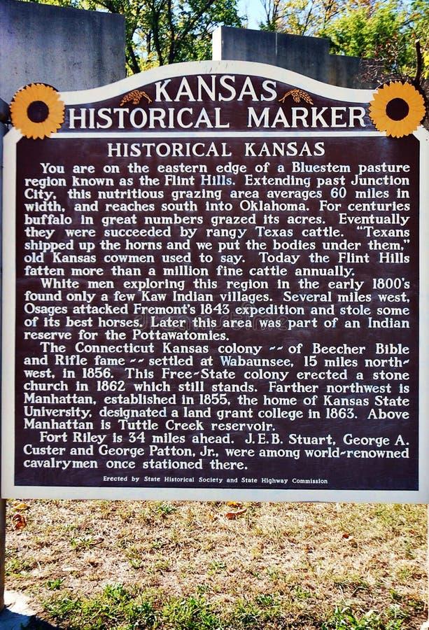 L'information historique de signe de marqueur d'état du Kansas photos stock