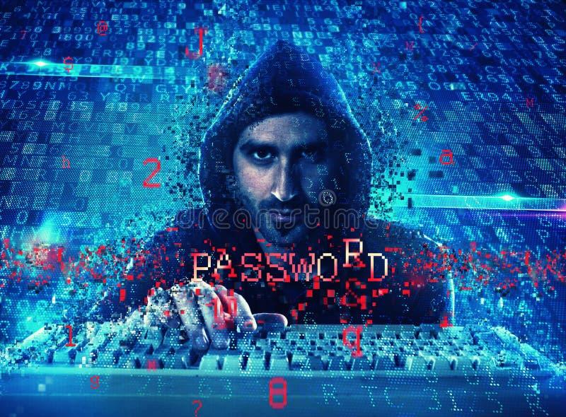 L'information personnelle de lecture de pirate informatique Concept de l'intimité et de la sécurité image stock