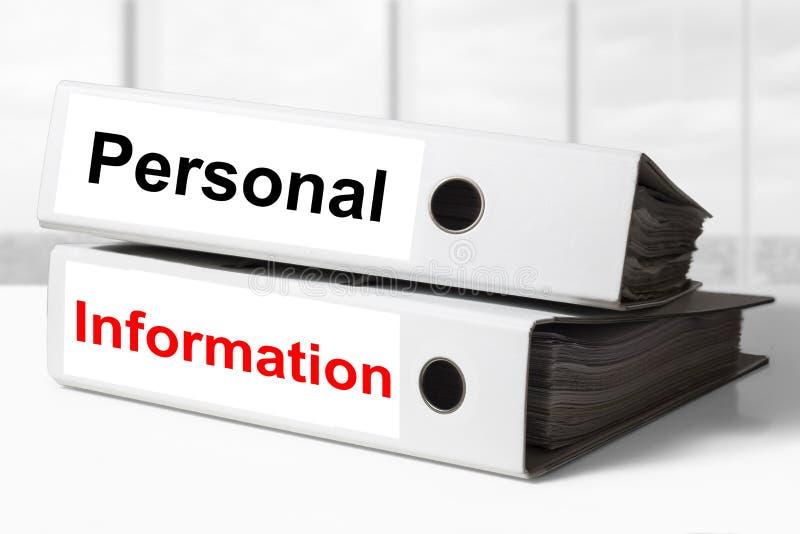 L'information personnelle de reliures de bureau photo libre de droits