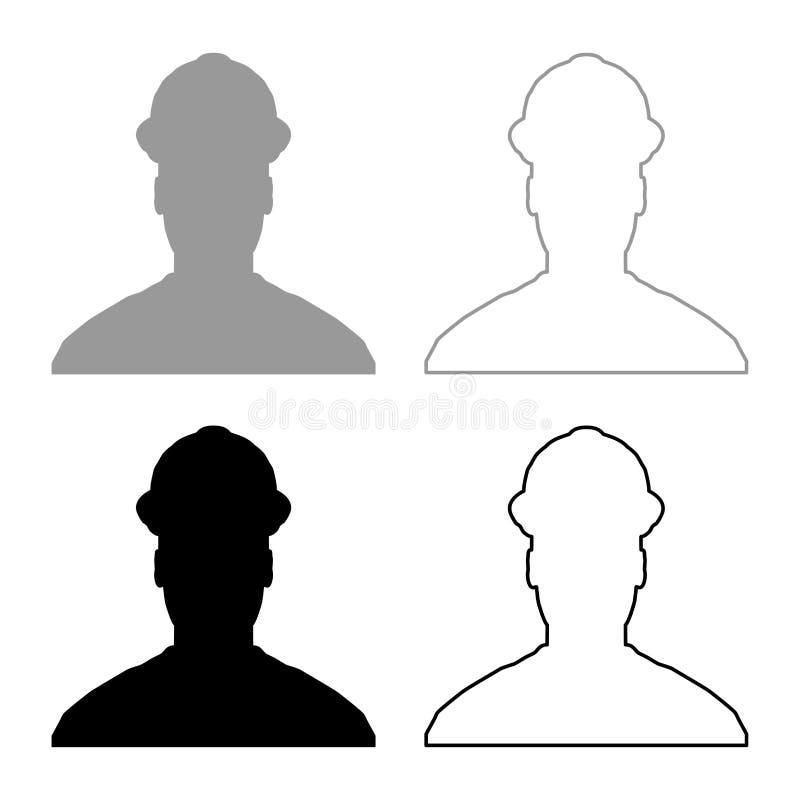 L'ingénieur d'architecte de constructeur d'avatar dans l'icône de vue de casque a placé l'image simple de couleur d'illustration  illustration stock