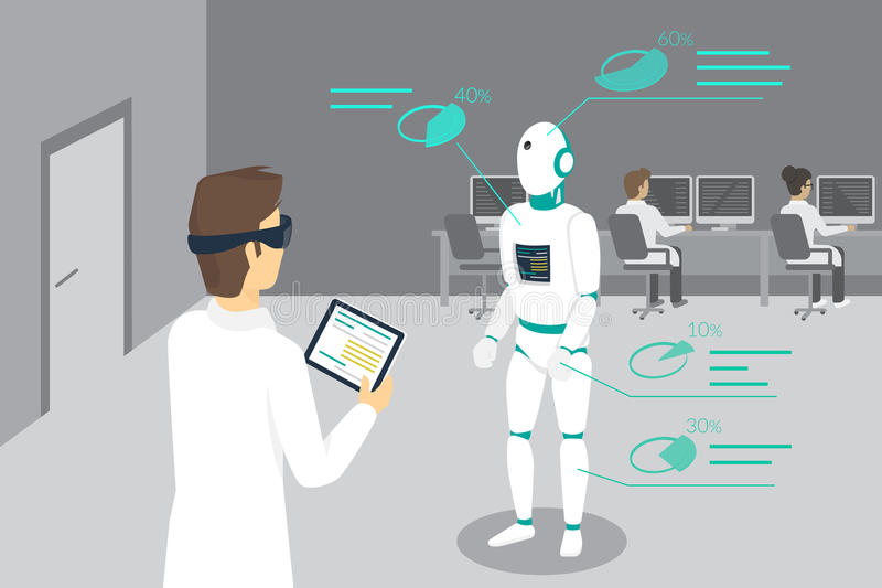 L'ingénieur de programmation place un robot utilisant le dispositif tête-monté pour augmenté et réalité virtuelle illustration libre de droits