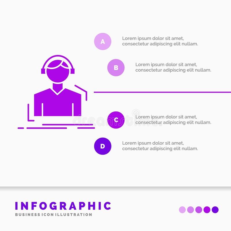 L'ingegnere, cuffie, ascolta, meloman, modello di Infographics di musica il sito Web e la presentazione Icona porpora di glifo in illustrazione di stock