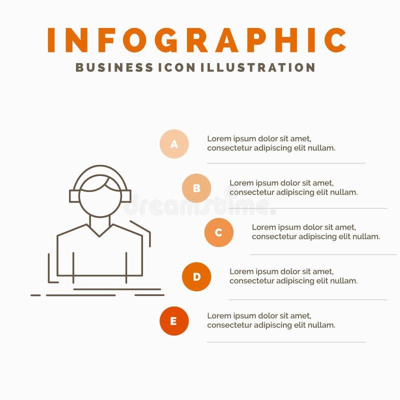 L'ingegnere, cuffie, ascolta, meloman, modello di Infographics di musica il sito Web e la presentazione Linea icona grigia con l' illustrazione di stock