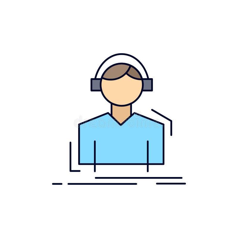 L'ingegnere, cuffie, ascolta, meloman, vettore piano dell'icona di colore di musica royalty illustrazione gratis